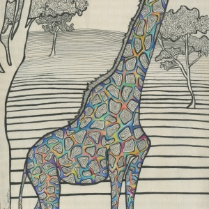 Reaching - 12x24 in.  Ink and Colored Pencil on Wood Panel.  2013.  Sold.
