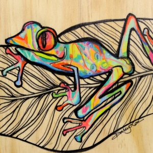 Wired - 5x5 in.  Ink and Colored Pencil on Wood.  2013.  Sold.