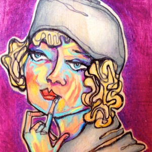 Thoughtless - 4x4 in.  Ink and Colored Pencil on Wood.  2013.  Sold.