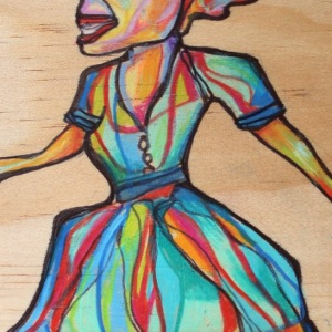 Dancer - 4x6 in.  Ink and Colored Pencil on Wood.  2014.  Sold.