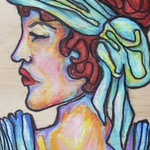 Profiled - 4x6 in.  Ink and Colored Pencil on Wood.  2013.  Sold.