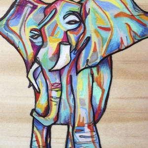 Carefully Carefree - 4x6 in.  Ink and Colored Pencil on Wood.  2013.  Sold.