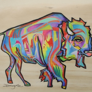 Bison.  5x5 in.  Ink and Colored Pencil on Wood.  2013.  Sold.