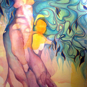 Into Her Branches - Mural for Magnum Opus Salon in Portland, OR.  60 x 96 in.  Acrylic on canvas.  2009.
