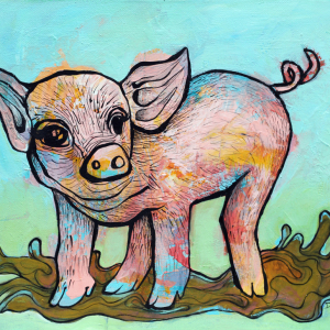 Playful Piglet. 12x16 in. Acrylic on canvas. 2017. $250.