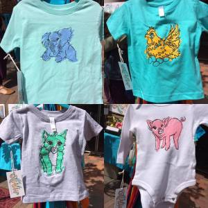 Tee shirts and baby body suits with animals galore